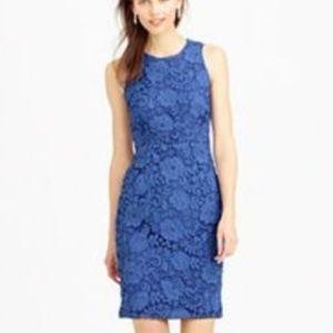 J. Crew Blue Sleeveless Floral Sheath Dress